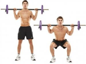Squats with a barbell on the shoulders